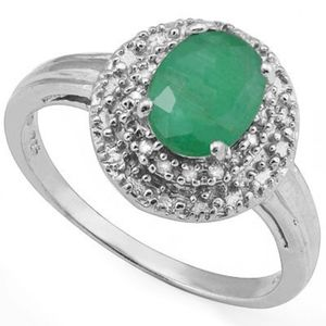 Jewelry - Ring 2 Ct Emerald Created/Diamond/Sterling Silver